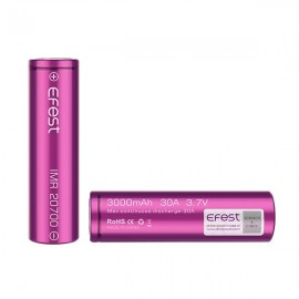 2 Batteries Efest 20700 IMR - Purple - Flat Top - 3000 mAh - 30 A
