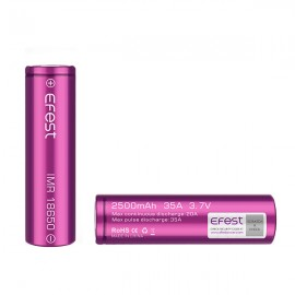 2 Accus 2500 mAh Efest 18650 IMR - Purple - Flat Top - 35 A Efest Accus